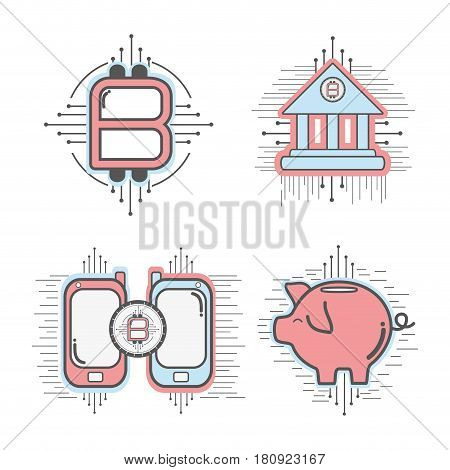 line set icon circuit bitcoin money currency, vector illustration
