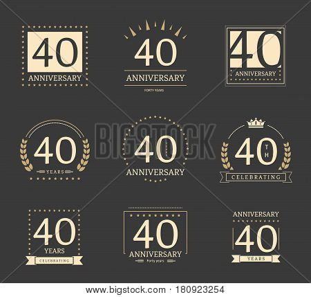 40th anniversary logotypes and badges collection. Vector illustration.