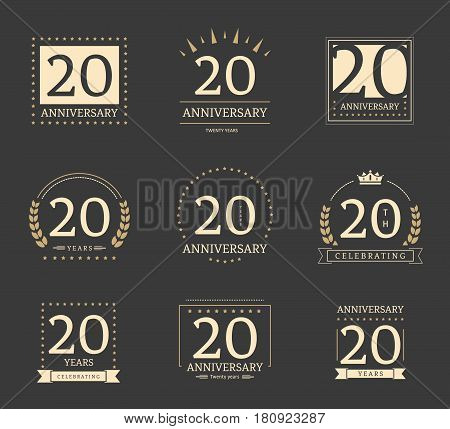 20th anniversary logotypes and badges collection. Vector illustration.