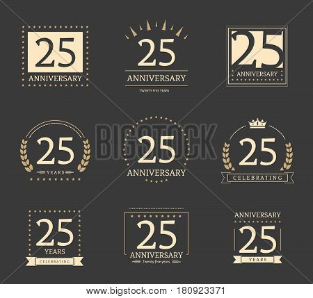 25th anniversary logotypes and badges collection. Vector illustration.