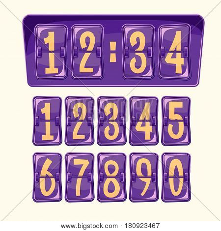 Vector illustration of a countdown timer, a mechanical scoreboard blank and various numerals in cartoon style. Set of numeral alphabeth