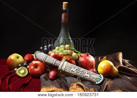 Old Dagger In The Scabbard, Classic Dutch Still Life With Dusty Bottle Of Wine And Fruits On A Dark