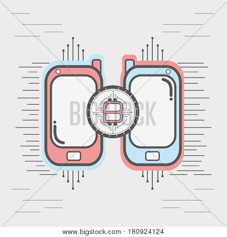 color smartphone icon circuit bitcoin money currency, vector illustration