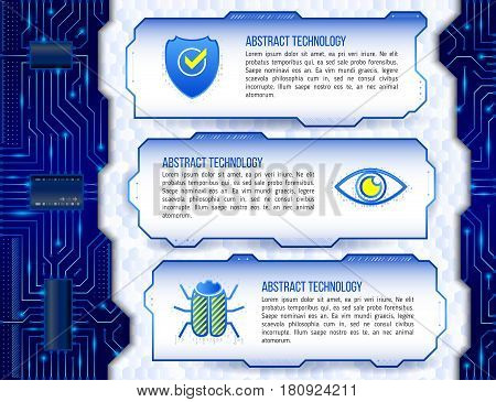 Abstract futuristic circuit background. High computer technology concept with shield eye and hacker bug. Internet security data. Computer system privacy.