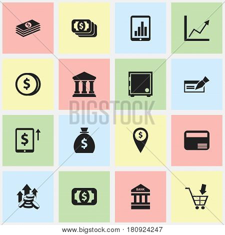 Set Of 16 Editable Banking Icons. Includes Symbols Such As Holdall, Diagram, Coins Raise And More. Can Be Used For Web, Mobile, UI And Infographic Design.