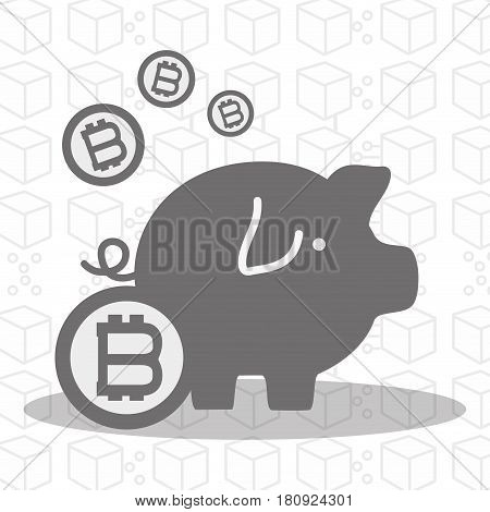 gray pig icon circuit bitcoin money currency, vector illustration