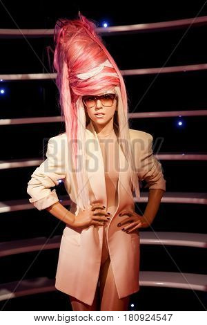 Amsterdam, Netherlands - March, 2017: Wax figure of Lady Gaga singer in Madame Tussauds Wax museum in Amsterdam, Netherlands