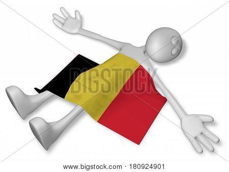 dead cartoon guy and flag of belgium - 3d illustration