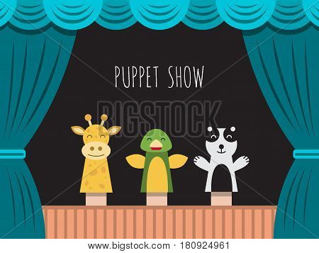 Childrens performance in the puppet theater at the theater with price, curtain and scenery.