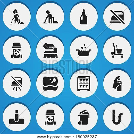 Set Of 16 Editable Dry-Cleaning Icons. Includes Symbols Such As Notice, Drainpipe, Laundry Detergent And More. Can Be Used For Web, Mobile, UI And Infographic Design.