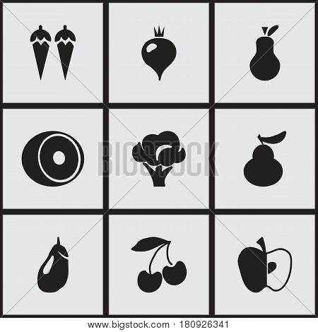 Set Of 9 Editable Berry Icons. Includes Symbols Such As Cherry, Eggplant, Duchess And More. Can Be Used For Web, Mobile, UI And Infographic Design.