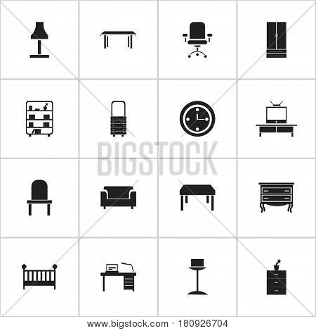 Set Of 16 Editable Furniture Icons. Includes Symbols Such As Commode, Child Cot, Watch And More. Can Be Used For Web, Mobile, UI And Infographic Design.