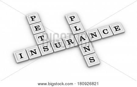 Pets insurance plans crossword puzzle. Pets Health care concept. 3D illustration on white background.