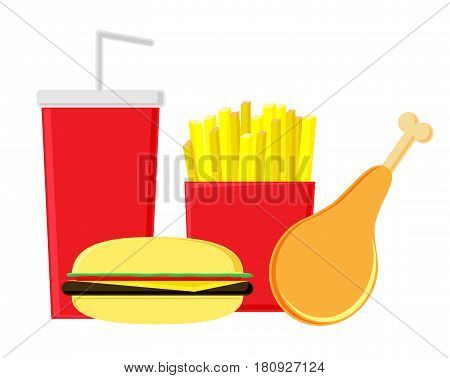 Fastfood on a white background. Fried potatoes, hamburger, chicken leg and soda. Useless food isolated.
