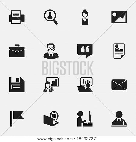 Set Of 16 Editable Company Icons. Includes Symbols Such As Printing Machine, Workman In Laptop, Epistle And More. Can Be Used For Web, Mobile, UI And Infographic Design.