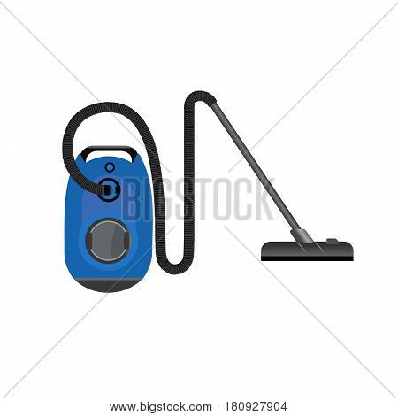 Realistic Blue Vacuum Cleaner On White Background