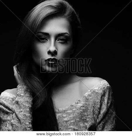 Sexy Makeup Woman In Blouse Posing In Dark Shadow Black Background. Black And White. Closeup Art Por