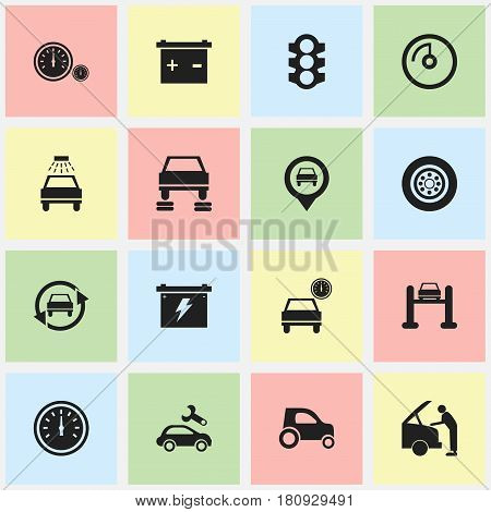 Set Of 16 Editable Vehicle Icons. Includes Symbols Such As Stoplight, Speed Display, Car Lave And More. Can Be Used For Web, Mobile, UI And Infographic Design.