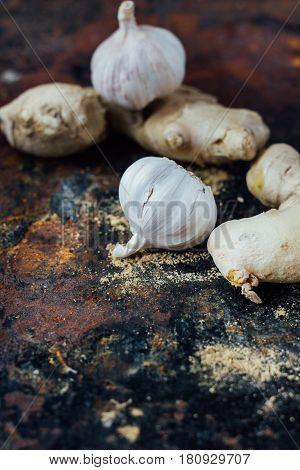 Ginger Root And Garlic