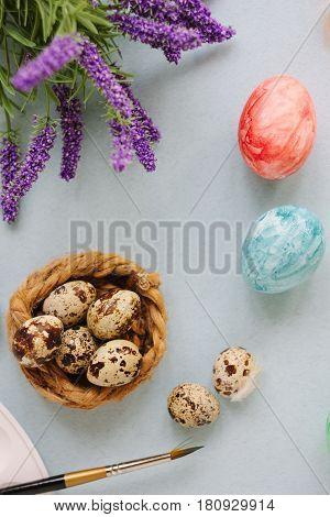 Quail Eggs Over Bright Background For Easter Celebration.