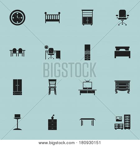 Set Of 16 Editable Furnishings Icons. Includes Symbols Such As Plant Pot, Cabinet, Office And More. Can Be Used For Web, Mobile, UI And Infographic Design.