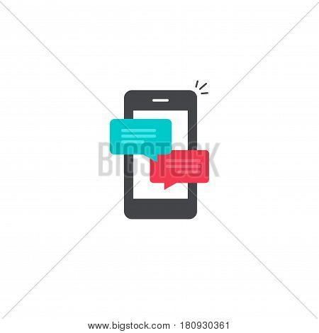 Mobile phone chat message notifications vector icon isolated, smartphone and chatting bubble speeches pictogram, concept of online talking, speak messaging, conversation, dialog symbol