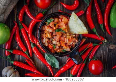 Red Hot Chili Peppers With The Raw Salsa Dip - Hot And Tasty.