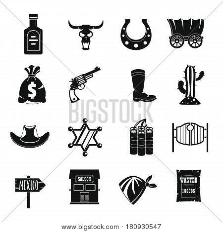 Wild west set design logo. Simple illustration of 16 wild west logo vector icons for web