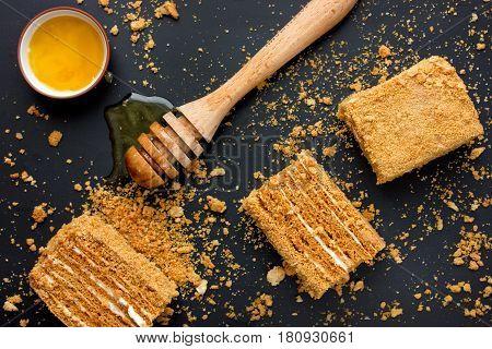 Delicious honey cake layered cake with cream and honey