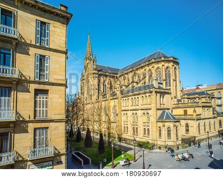 San Sebastian (Donostia) Spain - March 28, 2017: Lateral facade of Buen Pastor Cathedral (Cathedral of the Good Shepherd) located in the city of San Sebastian Gipuzkoa Basque Country Spain.