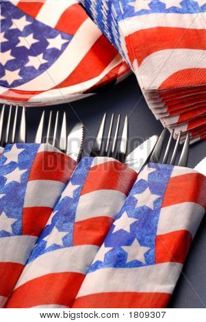 4Th Of July Tablesetting With Cups, Plates, Napkins And Silverware