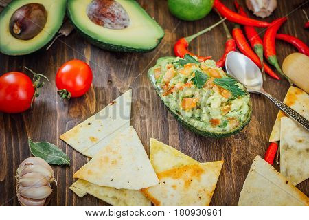 Avocado Boat - Guacamole Dip In Boat Made From Avocado Skin.
