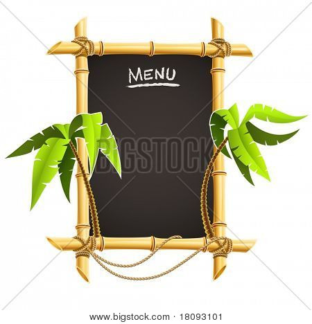 bamboo frame with tropical palms vector illustration isolated on white background