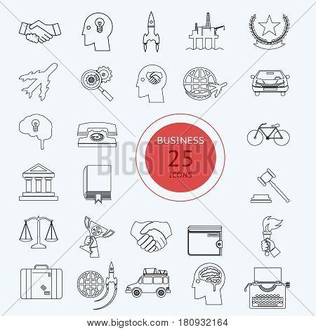 Icon Business Travel Sport law set retro flat design concept vector illustration