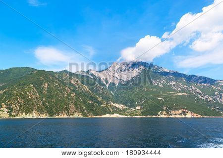 panoramic view of holy mount Athos, Halkidiki , Greece