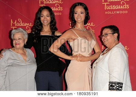 LOS ANGELES - APR 7:  Mother, Zoe Saldana, Zoe Saldana Wax Figure, Guest at Zoe's Madame Tussauds Hollywood Wax Figure Unveiling  at the Madame Tussauds Hollywood on April 7, 2017 in Los Angeles, CA