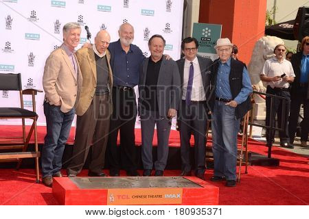LOS ANGELES - APR 7:  Tom Bergeron, Carl Reiner, Rob Reiner,  Crystal, Ben Mankiewicz, Norman Lear at the Reiner's Hand and Footprint Ceremony at the TCL Chinese Theater on April 7, 2017 in Los Angeles, CA