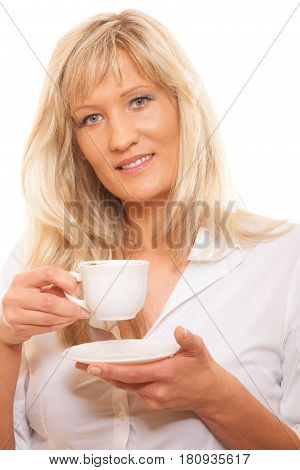 People happiness drink and food concept. Mature woman drinking tea or coffee. Cup of Hot Beverage. white background