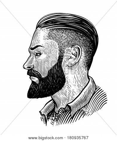 Hand drawn portrait of man in profile. Hipster sketch. Vintage vector illustration isolated on white background