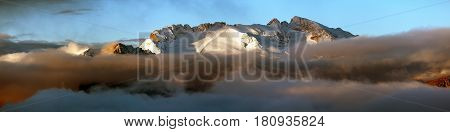 morning panoramic view of mount Marmolada South Tirol Alps Dolomites mountains Italy