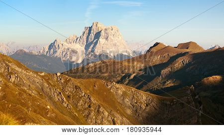 Evening panoramic view of mount Pelmo South Tirol dolomites mountains Italy