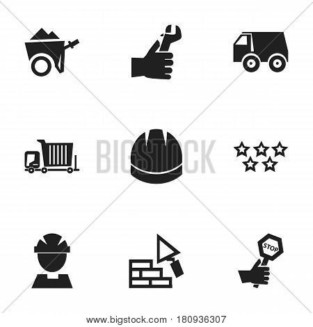 Set Of 9 Editable Construction Icons. Includes Symbols Such As Handcart , Hands , Endurance. Can Be Used For Web, Mobile, UI And Infographic Design.
