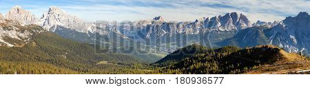 Panoramic view of dolomiti around Cortina d Ampezzo and Dolomites mountains Italy