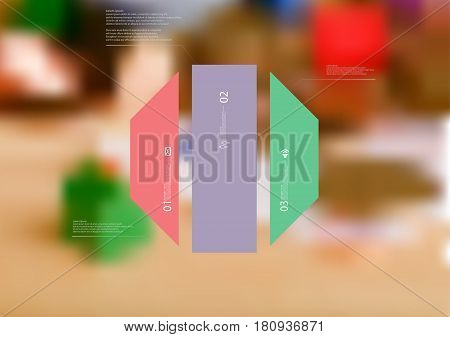 Illustration infographic template with motif of octagon vertically divided to three standalone color sections. Blurred photo with financial motif with coins and money is used as background.