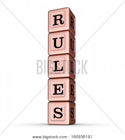 Rules Word Sign. Vertical Stack of Rose Gold Metallic Toy Blocks. 3D illustration isolated on white background.