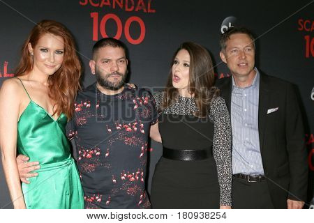 LOS ANGELES - APR 8:  Darby Stanchfield, Guillermo Diaz, Katie Lowes, George Newbern at the