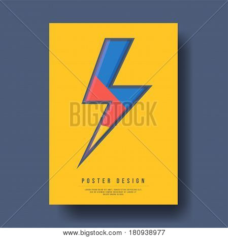 Abstract Geometric Shapes Thunder Icon Cover Design - Vector illustration template