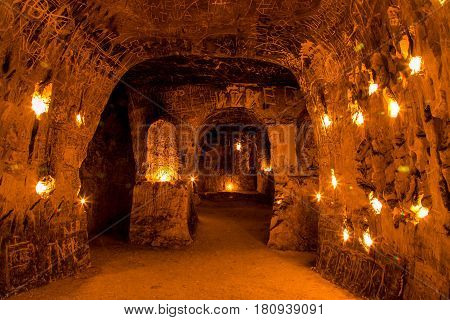 Abandoned chalky underground cave monastery, underground church in Kalach, Voronezh region, it's one of the most interesting cave monasteries in Russia