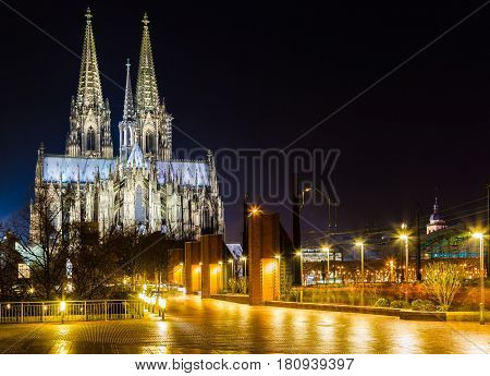 Cologne cathedral at night in Germany NRW.