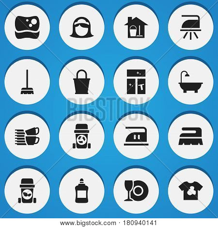 Set Of 16 Editable Cleaning Icons. Includes Symbols Such As Plate, Flatiron, Dishes Pile And More. Can Be Used For Web, Mobile, UI And Infographic Design.